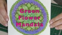 Drawing Mandala Coloured Green Flower Pattern