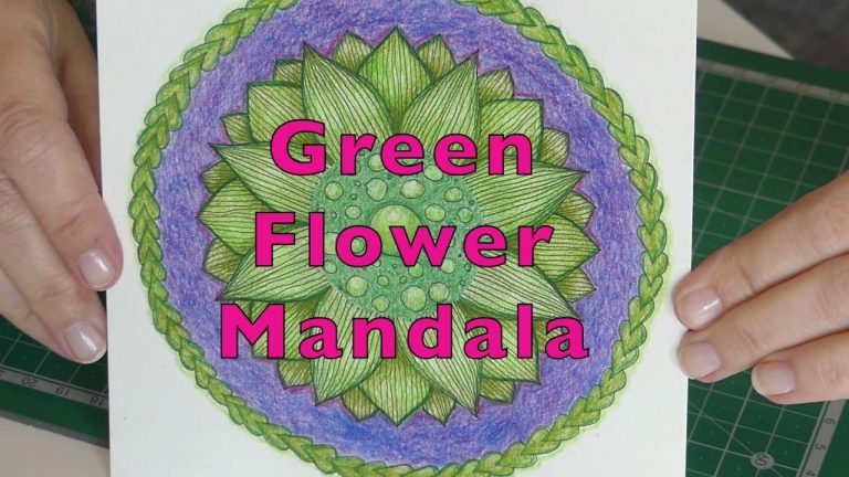 Drawing Mandala Coloured Green Flower Pattern